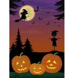 Halloween landscape with pumpkins vector image vector image