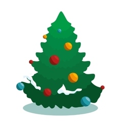 happy merry christmas tree card vector image
