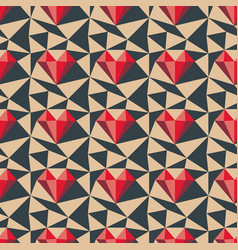 Heart pattern low poly seamless background vector