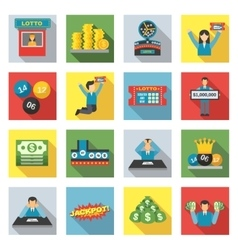 Lottery Icons Flat Set vector image vector image