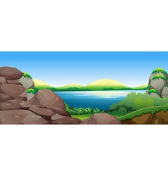 Nature scene with lake and hills vector