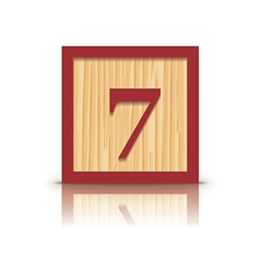 Number 7 wooden alphabet block vector