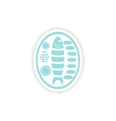 Paper sticker on white background fish plate vector