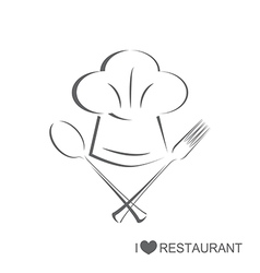 Restaurant 2 Chef hat with spoon and fork vector image