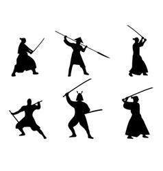 Set of samurai warriors silhouette on white vector