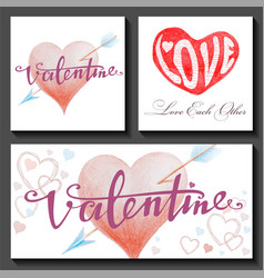 Set of valentines day cards with hearts and arrows vector