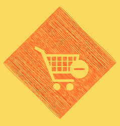 Shopping cart with remove sign red vector