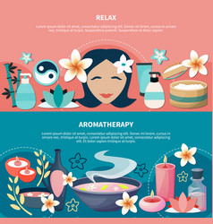 Spa aromatherapy relaxation flat banners vector