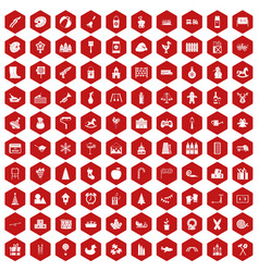 100 preschool education icons hexagon red vector