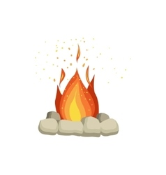 Bonfire with rocks surrounding vector