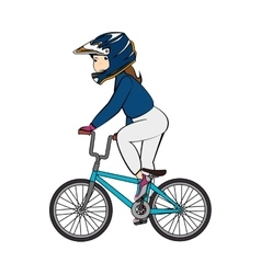 Girl bmx ride bike vector