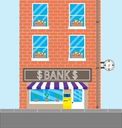 Bank building with brick wall vector