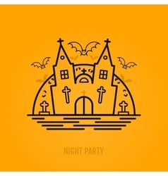 Happy halloween concept with bats moon castle vector