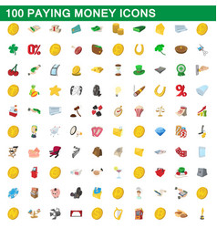 100 paying money icons set cartoon style vector image