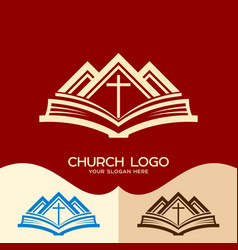 cross of jesus the bible and the mountains vector image