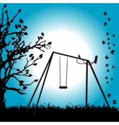 tree silhouette swing on meadow vector image
