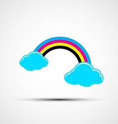 Logo cmyk rainbow and clouds vector