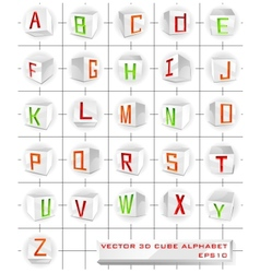 3D cube alphabet vector image vector image