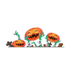 3d halloween pumpkin and zombies hands vector image vector image