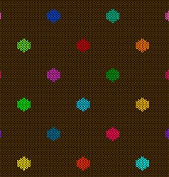 Seamless knitted pattern with polka dot vector