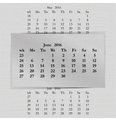 Calendar month for 2016 pages june start monday vector