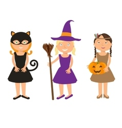 Kids trick or treating vector