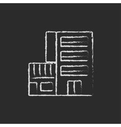 Hotel building icon drawn in chalk vector
