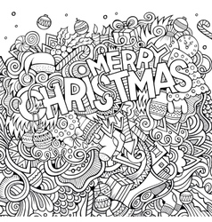 Merry christmas hand lettering and doodles vector