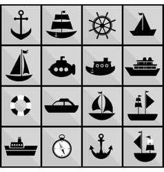 Background with black silhouettes of sea transport vector