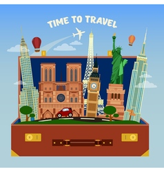 Travel banner suitcase full of famous places vector