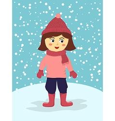 Girl Wear Pink Winter Suit vector image