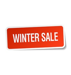 Winter sale red square sticker isolated on white vector