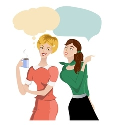 One cartoon girl tells something to another one vector image