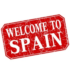 Welcome to spain red square grunge stamp vector