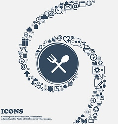 Fork and spoon crosswise cutlery eat icon sign in vector