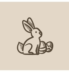 Easter bunny with eggs sketch icon vector