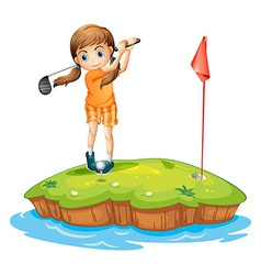 A young woman playing golf vector image