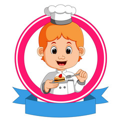 baker holding a tray with a cupcake vector image vector image