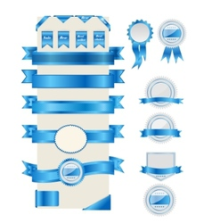 Blue ribbons and labels vector image vector image