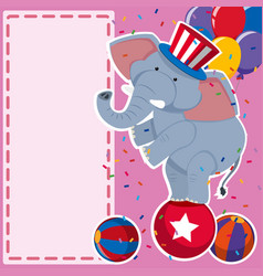 border template with elephant on the ball vector image
