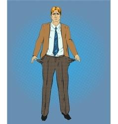broke businessman in retro vector image