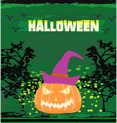 Broken halloween pumpkin on grunge green vector