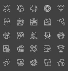 casino icons collection vector image vector image