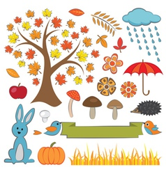 Colorful Autumn Set vector image vector image
