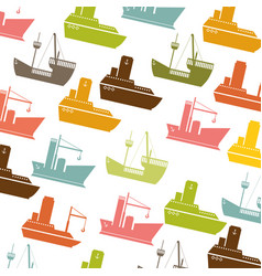Colorful pattern vessel and ship design vector