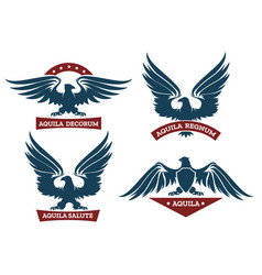 Eagle and ribbon emblem set vector