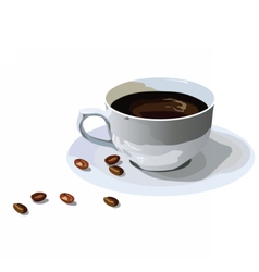 Fresh Coffee cup with beans isolated vector image