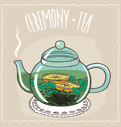 Glass teapot with tea with mint vector