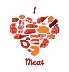 i love meat set bacon ham cartoon style vector image