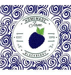 Jam label design template for blackberry dessert vector